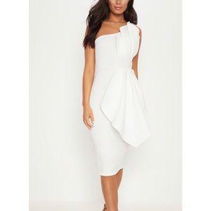 Pretty Little Thing (PLT) White One Shoulder Dress
